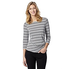 Principles Petite by Ben de Lisi - Petite designer navy spot and stripe textured top