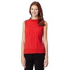 Principles by Ben de Lisi - Designer bright red burnout roll neck top