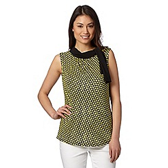 Principles Petite by Ben de Lisi - Designer bright yellow mesh print tie neck top