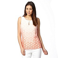 Principles Petite by Ben de Lisi - Petite designer pale peach ombre burnout shell top