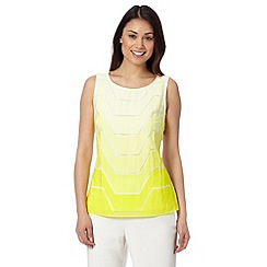 Principles Petite by Ben de Lisi - Designer bright yellow burnout top
