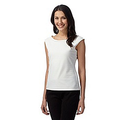 Principles Petite by Ben de Lisi - Designer ivory ribbed top