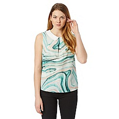 Principles by Ben de Lisi - Designer turquoise marble print shell top