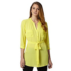 Principles by Ben de Lisi - Designer bright yellow longline georgette shirt