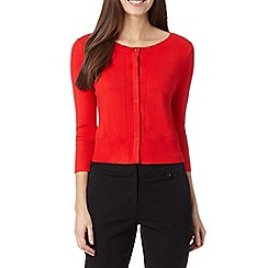 Principles Petite by Ben de Lisi - Petite designer bright red pointelle detail cardigan