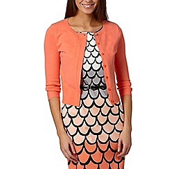 Principles by Ben de Lisi - Designer bright orange pointelle knit cardigan