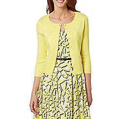 Principles Petite by Ben de Lisi - Designer yellow ribbed sleeve cardigan