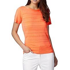 Principles Petite by Ben de Lisi - Petite designer bright coral textured stripe jumper