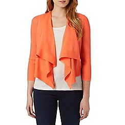 Principles by Ben de Lisi - Designer bright orange cropped waterfall cardigan