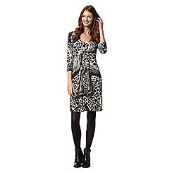 Principles Petite by Ben de Lisi - Petite designer black swirl animal print jersey dress
