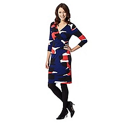Principles Petite by Ben de Lisi - Petite designer black print wrap dress