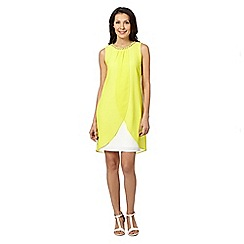 Principles by Ben de Lisi - Designer bright yellow embellished layered dress