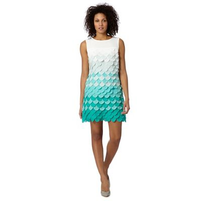 Principles by Ben de Lisi Designer turquoise fish scale shift dress - . -