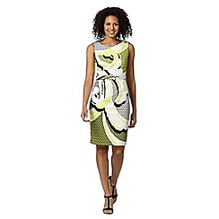 Principles by Ben de Lisi - Designer bright yellow scroll print belted dress