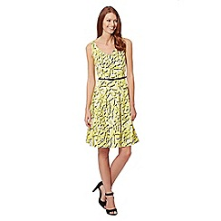 Principles Petite by Ben de Lisi - Designer yellow floral print prom dress