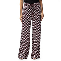 Principles Petite by Ben de Lisi - Designer black diamond print wide leg trousers