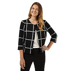 Principles Petite by Ben de Lisi - Designer black checked ponte jacket