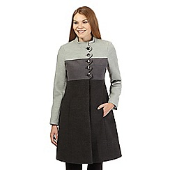 Principles Petite by Ben de Lisi - Grey panelled scalloped trim coat