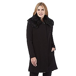 Principles Petite by Ben de Lisi - Black faux fur collar coat