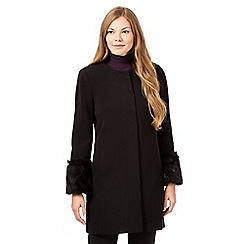 Principles by Ben de Lisi - Black faux fur cuff coat