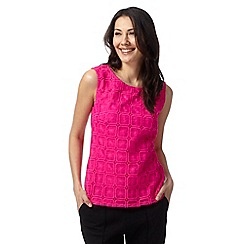 Principles Petite by Ben de Lisi - Designer bright pink square lace top