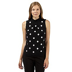 Principles Petite by Ben de Lisi - Designer black spot embroidered top