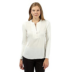 Principles Petite by Ben de Lisi - Designer ivory pleated shirt