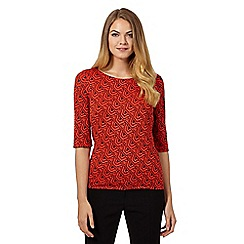 Principles Petite by Ben de Lisi - Bright orange three quarter length length sleeved graphic top