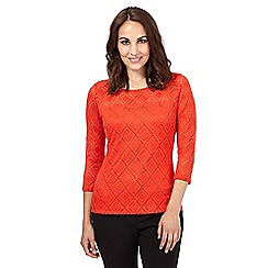 Principles by Ben de Lisi - Bright orange diamond lace top