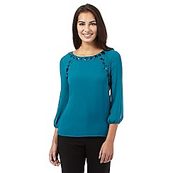 Principles by Ben de Lisi - Turquoise sequin circle embellished top