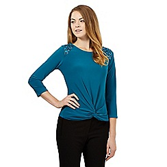 Principles by Ben de Lisi - Turquoise shoulder embellished top