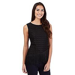 Principles by Ben de Lisi - Black fringed lace shell top