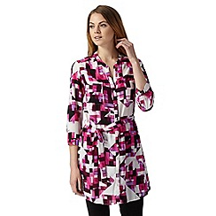 Principles by Ben de Lisi - Designer bright pink geo print shirt
