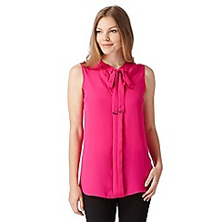 Principles by Ben de Lisi - Designer bright pink long sleeveless pussy bow neck top
