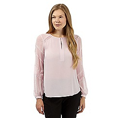 Principles Petite by Ben de Lisi - Designer light pink textured blouse