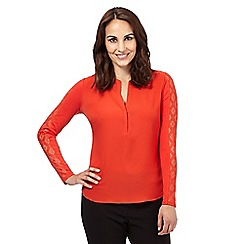 Principles Petite by Ben de Lisi - Bright orange diamond lace trim shirt