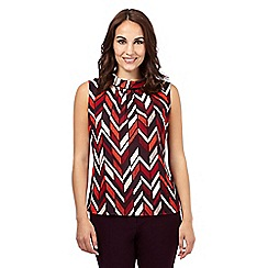 Principles by Ben de Lisi - Dark red chevron print roll neck top