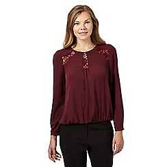 Principles by Ben de Lisi - Dark purple floral lace insert top