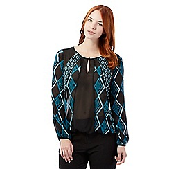 Principles by Ben de Lisi - Teal jewel printed sheer top