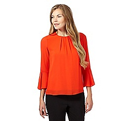 Principles by Ben de Lisi - Bright orange pleated flute top