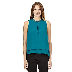 Principles by Ben de Lisi - Teal jewelled neckline top