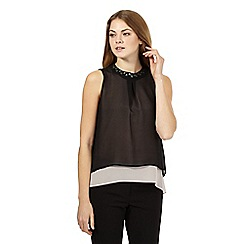 Principles Petite by Ben de Lisi - Black sheer double layer top