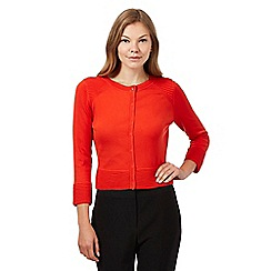 Principles Petite by Ben de Lisi - Designer orange ribbed shoulder cropped cardigan