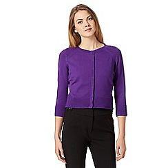 Principles Petite by Ben de Lisi - Designer purple ribbed shoulder cropped cardigan