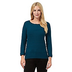 Principles Petite by Ben de Lisi - Dark turquoise ribbed jumper