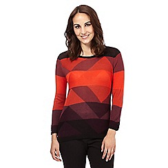 Principles Petite by Ben de Lisi - Red geometric diamond jumper
