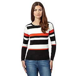 Principles Petite by Ben de Lisi - Designer black striped button sleeve jumper