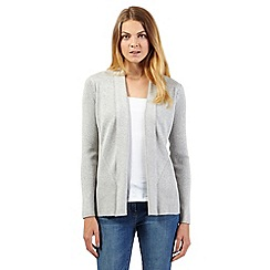 Principles by Ben de Lisi - Designer pale grey ribbed edge to edge cardigan