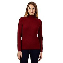 Principles by Ben de Lisi - Dark red ribbed roll neck jumper