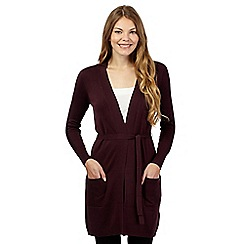 Principles by Ben de Lisi - Dark purple longline self tie waist cardigan
